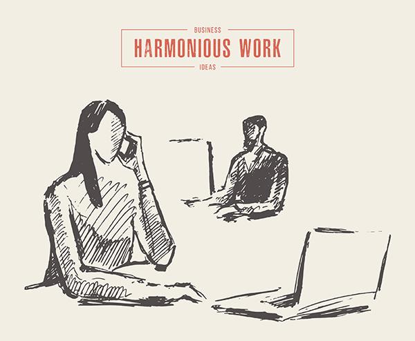 Hand,Drawn,Vector,Concept,Illustration,Of,A,Harmonious,Office,Job,