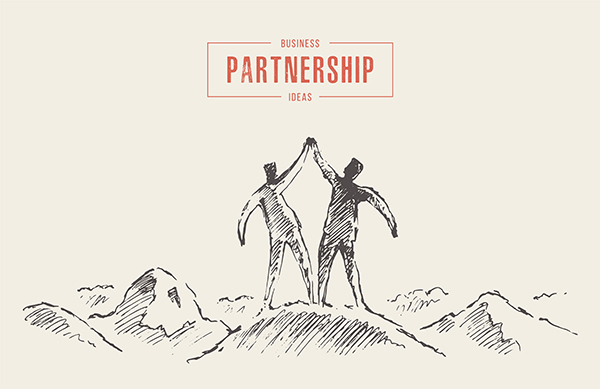 Two,Successful,Climbers,On,A,Mountain,,Holding,Hands,,Teamwork,,Partnership